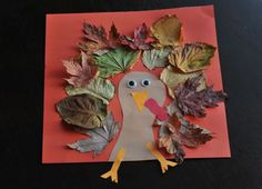 Cute craft for the kids--make a turkey with fall leaves #turkey #leaves