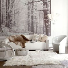 Fototapete - die spezielle Art Wandtapete Wall Mural - the special kind of wall wallpaper Winter Living Room, Home And Living, Modern Living, Cozy Living, Living Room Designs, Living Room Decor, Living Spaces, Living Rooms, My New Room