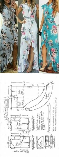 Amazing Sewing Patterns Clone Your Clothes Ideas. Enchanting Sewing Patterns Clone Your Clothes Ideas. Sewing Dress, Dress Sewing Patterns, Diy Dress, Sewing Clothes, Clothing Patterns, Flower Patterns, Sewing Diy, Wrap Dress Patterns, Shirt Dress Diy