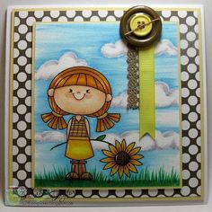 """Loving this sweet card made by Sarah using """"Sunflower Girl"""" 2 cute ink digi. #cardmaking #handmadecard #handmadecards #digistamps #digitalstamps #stamping #crafting #sunflower #2cuteink #2cuteinkdigitalstamps #2cidigistamps #thedailymarker30day #kids #papercrafts #coloring"""