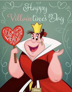 Get to the heart of Villaintine's Day! Alice in Wonderland, February 2018 Disney Kunst, Arte Disney, Disney Magic, Disney Art, Disney Pixar, Disney Memes, Funny Valentines Cards, Disney Valentines, Valentines Art