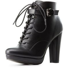 Charlotte Russe Buckled Lace-Up Combat Booties (€19) ❤ liked on Polyvore featuring shoes, boots, ankle booties, high heels, block heel booties, black buckle booties, lace up booties, buckle booties and black ankle booties