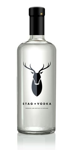 Stag Vodka, the logo in this bottle is great, how there are two separate shades in it stops it from being too bland. The type matches the overall look of the bottle.: