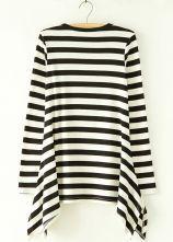 Black White Striped Long Sleeve Ruffles T-Shirt - Sheinside.com