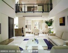 樓中樓、白色、客廳設計