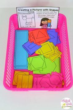 Kindergarten Math, math games, shapes, patterns, pattern blocks Would be amazing with SeeSaw Kindergarten Math Activities, Preschool Learning, Math Math, Shape Activities Kindergarten, Patterning Kindergarten, Math Fractions, Montessori Activities, Fun Math, Teaching Shapes