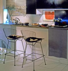 bertoia stool with seat cushion  Design Harry Bertoia, 1952  Welded steel rods, upholstery  Made in USA by Knoll