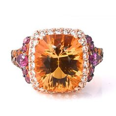 LeVian Citrine, Rhodolite Garnet and Sapphire cocktail RING 14 K Yellow Gold, 100% AUTHENTIC Brand new with tags This ring is very bright and colorful! Features one 12 mm x 10 mm cushion cut Citrine surrounded and accented by 46 round cut variety of gemstones (citrine, rhodolite garnet and sapphire) Available at #BRANDINIA. http://www.Brandinia.com