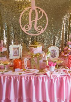 Amazing dessert table at a Pink and Gold Birthday Party! See more party planning ideas at CatchMyParty.com!