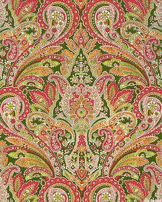 Arabella - Exotic Paisley Symmetry - Pine Green