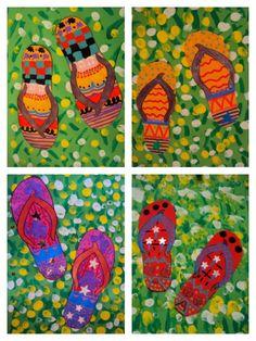 tapa d'àlbum Line Art Projects, Kids Painting Projects, Art Education Projects, Summer Art Projects, School Art Projects, Painting For Kids, Art For Kids, Kindergarten Art Lessons, Summer Crafts