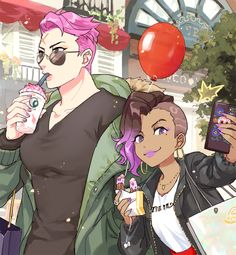 Overwatch - Zarya/Sombra in Blizzard World Overwatch Comic, Genji Overwatch, Overwatch Video Game, Overwatch Memes, Overwatch Fan Art, Fanart Overwatch, Character Concept, Character Art, Overwatch Drawings