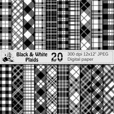 Black and White Plaids Digital Paper Set by VRDigitalDesign