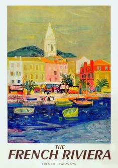 Vintage Poster Giclee Print: Côte d'Azur (French Riviera) - Port of Saint Tropez - SNCF (French National Railway Company) by Roger Bezombes : - Retro Poster, A4 Poster, Vintage Travel Posters, Poster Wall, Photo Vintage, French Vintage, Retro Vintage, Vintage French Posters, Original Vintage