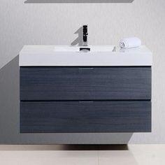 "Kube Bath Bliss 40"" Single Wall Mount Modern Bathroom Vanity Set Base Finish: Gray Oak"
