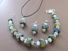 Glass Bead Jewelry Set, Aquamarine and Hematite Gemstones, Sterling Silver, Ocean Beads, Lampwork Glass, Sea Glass, Elegant and Natural