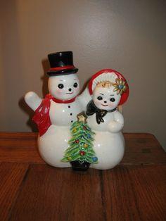 Vtg Napco era Snowman Planter Christmas Ceramic Japan woman