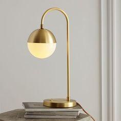 Rejuvenation Cedar + Moss Table Lamp, Single, Brushed Satin Brass