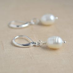 Cultured Freshwater Pearl Drop Earrings, 925 Silver Leverback, Beautiful Earrings, Lightweight Jewelry, Gift For Wife, Girls Pearls