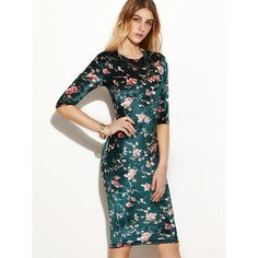 SheIn(sheinside) Dark Green Flower Print Silky Pencil Dress (77 HRK) ❤ liked on Polyvore featuring dresses, dark green dress, white pencil dress, flower printed dress, floral day dress and flower pattern dress