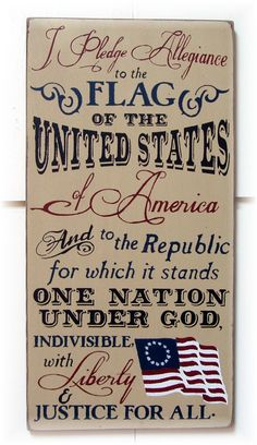 I pledge allegiance to the flag of the United States Of America... wood typography sign ready to ship $34
