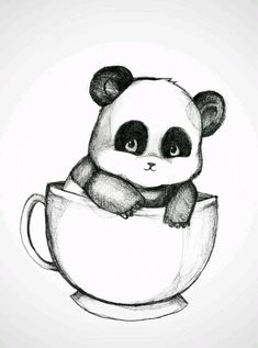cute drawings of pandas Pencil Art Drawings, Art Drawings Sketches, Love Drawings, Cartoon Drawings, Easy Drawings, Cute Easy Animal Drawings, Drawings Of Animals, Draw Animals, Panda Art
