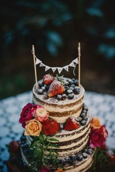 Love the little banner on top of this cake. Photo by Gabe McClintock.