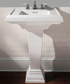 Pedestal Sink, white subway tile, gray paint, wood