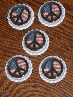 5 Americana Red White and Blue Flag Peace Sign White Bottle Caps  Party Favors  #HandmadePeaceSignAmericana