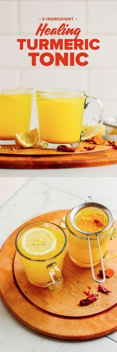 AMAZING 3-Ingredient Turmeric Ginger TONIC! Healing, gingery, naturally sweet, SO delicious! #turmeric #ginger #tea #recipe #vegan #glutenfree #minimalistbaker