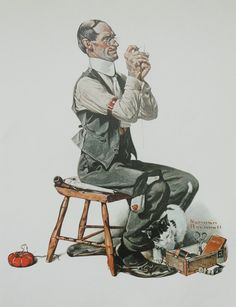 Norman Rockwell Favorite Poster, Vintage Poster Art, Man Threading A Needle, Sew, Antique Art, Printed in 1977