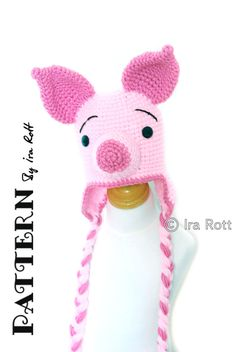 PATTERN  Pinky Piggy  Hat  Crochet PDF Pattern by FashionPatterns, $6.50