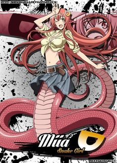 This was a commission - Miia is from Monster Musume no Iru Nichijou Miia is a Lamia (Snake Girl) and the first girl to be placed withKurusu as part of the Cultural E. Nichijou, Manga Art, Anime Manga, Anime Art, Zombina Monster Musume, Monster Museum, Snake Girl, Feliz Halloween, Everyday Life With Monsters
