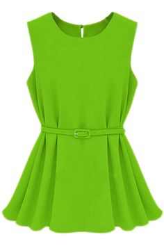 #ROMWE   Cut-out Belted Green Blouse, The Latest Street Fashion