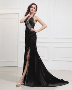 cf23881ee79fd5 Sexy Halter Floor length Evening Dress With Beading And Sequins Tule Prom  Jurk