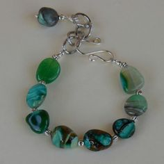 Green, Brown, and White Agate Gemstone Bracelet with Silver Plated Chain Links and Clasp.   7-8.5 inch bracelet.