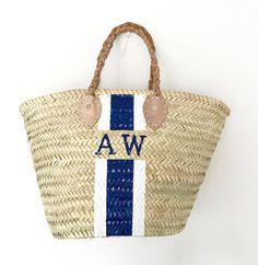 c0e71c9b9888 Monogrammed straw bag. Preppy Wardrobe