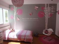 im kind of digging a lighter grey and pink color scheme for little miss' room..