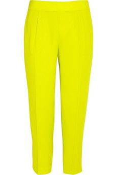 Love these J Crew chartreuse crepe mid rise cropped pants $168, get it here: http://rstyle.me/~x0Wr