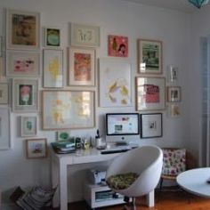 Nice artwork. And doesn't look too busy because of the light-colored frames and wall.
