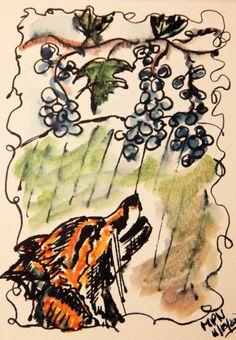 "The Fox and The Grapes - a Fable Ink on heavy watercolour paper This is a new one from my challenge blog.. over at Visiondialogue .. the challenge this week - chosen by martin - was ""food in storie..."