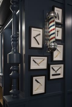 Barbershop Details at Sixty-One at Velocity Honolulu. Old school barber tools framed to highlight the shops old-school vibe. The vintage barber pole gives you a sense of nostalgia that you can experience when you visit the shop, in Honolulu, Hawaii.