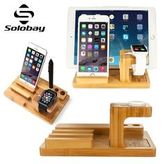 Solobay Apple Watch Stand Bamboo Charging Stand Bracket Docking Station Bamboo 2 in 1 Stand Holder for Apple Smart Watch Charging Stand for iPhone for ipad mini1/2/3 for ipad 2/3/4 -- See this great product. (This is an affiliate link) #Chargersandpoweradapters