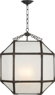 morris hanging lantern via suzanne kasler for circa lighting - aged zinc with frosted glass