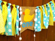 RUBBER DUCK Birthday Banner Highchair High Chair Nautical Blue Yellow Polka Dots Aqua First One Party Decor Bubbles Garland Cake Smash Prop by
