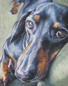 dachshund black and tan. LA Shepard..coloured pencil art...