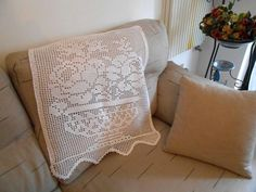 Filet crochet curtains, white lace crocheted curtains in fine egiptian cotton by cosediisa    Delicious filet crochet curtains, lace white cotton
