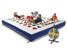 Who needs yoga where there's the inflatable outdoor color dot game? This oversized version of Twister plays out on a 15x15 inflatable vinyl mat. $2,000;  hammacher.com