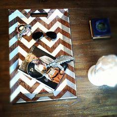 DIY metallic chevron coffee table tray