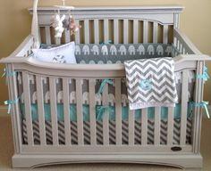 2 Piece Custom Nursery Crib Bedding Set…Grey and White Elephant and Chevron…Crib Skirt and Bumper Set. $235.00, via Etsy.